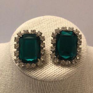 Vintage large faux emerald clip earrings